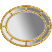 Vintage Friedman Brothers Oval Neo-Classical Beveled Mirror Gilt Wood Frame