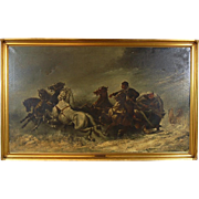 """Large Oil Painting """"The Attack"""" Wolf attack on Horses after Adolph Schreyer"""