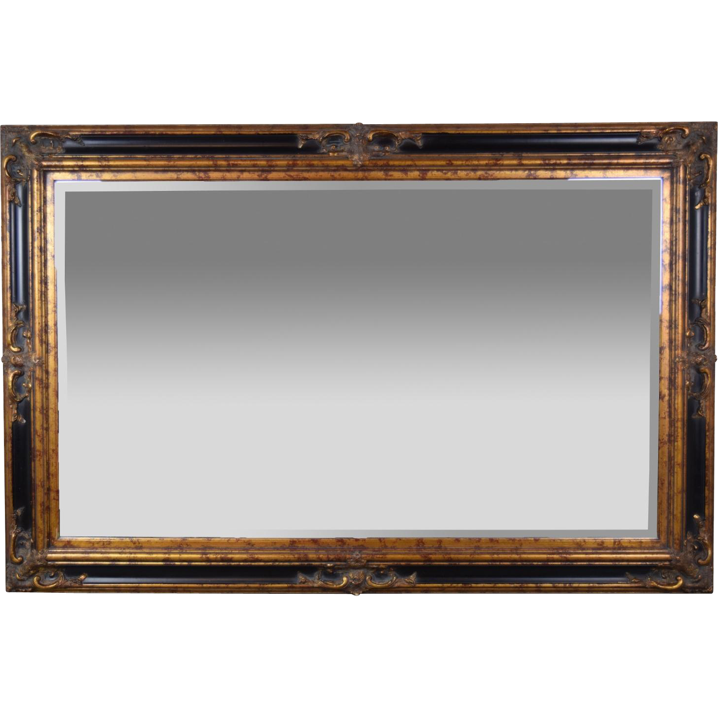 Large 6ft vintage entree beveled glass wall mirror for Wood framed mirrors