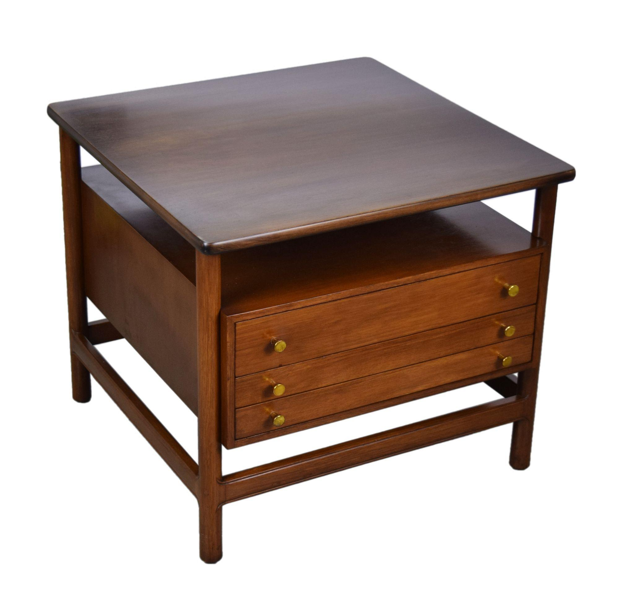 John Widdicomb MidCentury Modern End Table w Folding Snack Tables