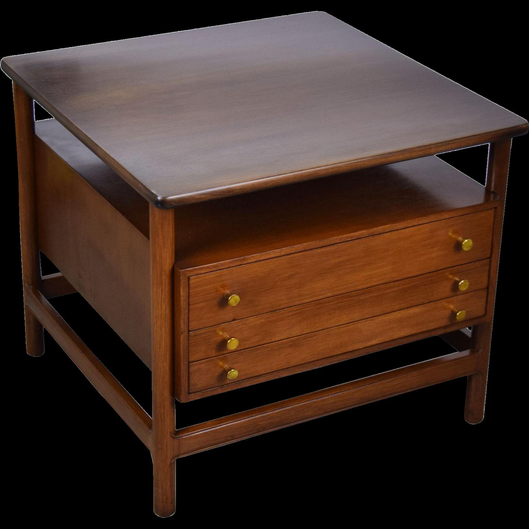 John Widdicomb Mid Century Modern End Table W Folding Snack Tables