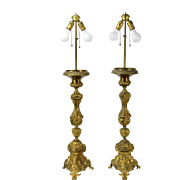 Pair 19th Century Italian Ecclesiastical Pricket Candlestick Brass Lamps Angels
