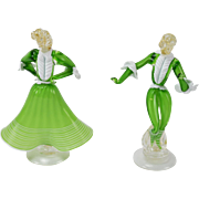 Pair Mid-Century Modern Murano Venetian Glass Figures Dancers