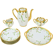 1910 Fine Hand Painted China Coffee Tea & Dessert Set France Studio Chicago