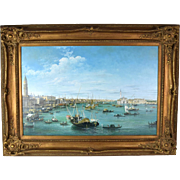 Large Venetian Lagoon Oil Painting Doge's Palace San Giorgio Maggiore Sgnd