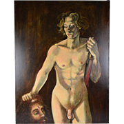 Nude David w Goliath's Severed Head Oil Painting Signed Thomas Burger