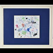 "1987 Japanese Modern Abstract Painting ""Mar en Primavera"" Kishio Murata"