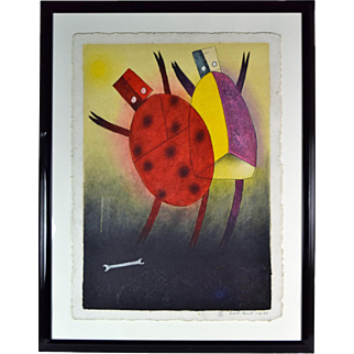 """Catarinas"" Lady Bugs by Teódulo Rómulo Mexican Artist L/E Textural Print"