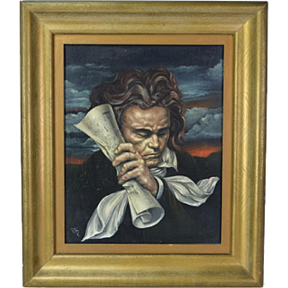1952 Oil Painting Dramatic Portrait of Beethoven in Deep Contemplation Signed Brun