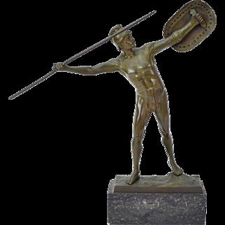 Circa 1920's German Bronze Sculpture Semi-Nude Roman Soldier w Shield Thiermann