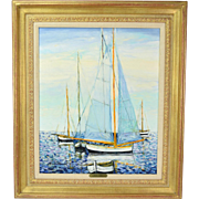 "Michel Henry ""Voile et Barques"" French Impressionist Marine Painting w Sailboats"