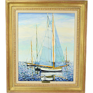 """Michel Henry """"Voile et Barques"""" French Impressionist Marine Painting w Sailboats"""