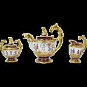 1890 Karl Wissmann Dresden Empire Porcelain Tea Set Children Playing w Angels