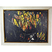 1960 Vintage Large Mid-Century Modern Abstract Oil Painting Signed Illegibly