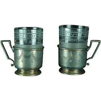 Antique 1881 German Silverplate and Etched Crystal Tea Glasses