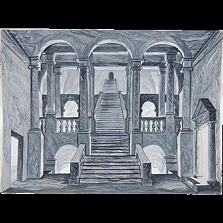 Delfau Original Painting Architectural Scenic Design Neo-Classical Staircase