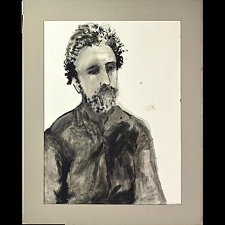 Aubrey Schwartz American Expressionist Watercolor Painting Portrait of Seurat