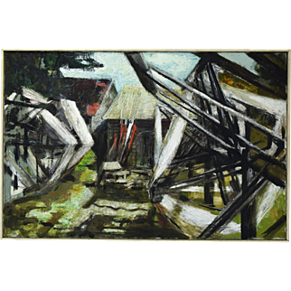 Mid-Century Abstract Oil Painting Industrial Yarn Winders in Front of Barns