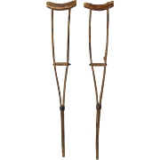 Pair 19th Century Primitive Split Wood Handmade Child's Crutches w Iron Hardware