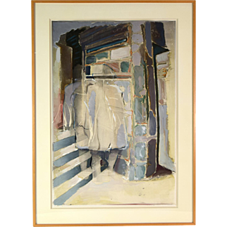 1983 Bayat Keerl Abstract Oil Painting on Photograph Ghostly Figures on Stoop