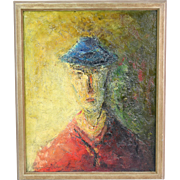 "French Mid-Century Modern Abstract Oil Painting ""Man in Blue Hat"" Emil Gerard"