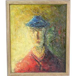 """French Mid-Century Modern Abstract Oil Painting """"Man in Blue Hat"""" Emil Gerard"""