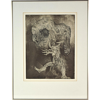 1985 Jiri Anderle Surrealist Czech Etching Abstracted Figures Skulls signed numbered