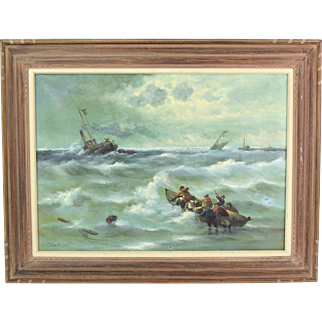 Oil Painting Shipwreck with Lifeboats Coming to the Rescue signed Colson