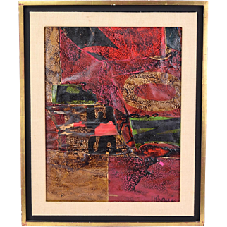 Mid-Century Mixed-Media Abstract Painting Harry Bouras Chicago Artist