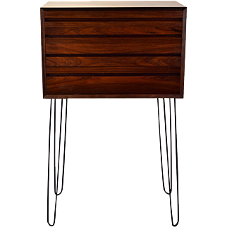 Vintage Rosewood Danish Modern Chest of Drawers on Hairpin Legs