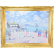 Impressionist Oil Painting French Promenade circa 1915 by John Morris