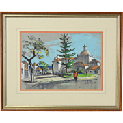 1969 Church in Albuferia Portugal Frank Beatty Pastel Gouache Painting