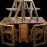 Mid Century Danish Modern Hide Away Dining Set Four Chairs Gateleg Table