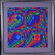 "Victor Vasarely ""Quadrature X"" Modern Geometric Op Art Lithograph Signed"