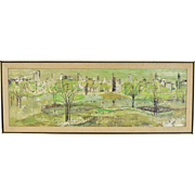 Vintage Mid-Century Modern Oil Painting Panoramic View City Park Marion Hall