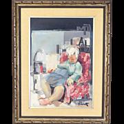 Vintage Mid Century Painting Woman Asleep in Chair Carl Schwartz Chicago