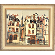 Vintage Mid-Century Modern Oil Painting Paris Street Scene by Guy Nochet