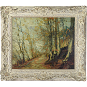 Impressionist Oil Painting Autumn Landscape Forest Road Alfred Bastien Belgian