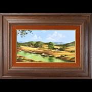 """""""Just Yesterday"""" Oil Painting Foothills Ranch Scene R. Danskin California"""