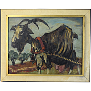 "1954 ""La Chevre"" Mid-Century Abstracted Goat Oil Painting Signed H. Rey"