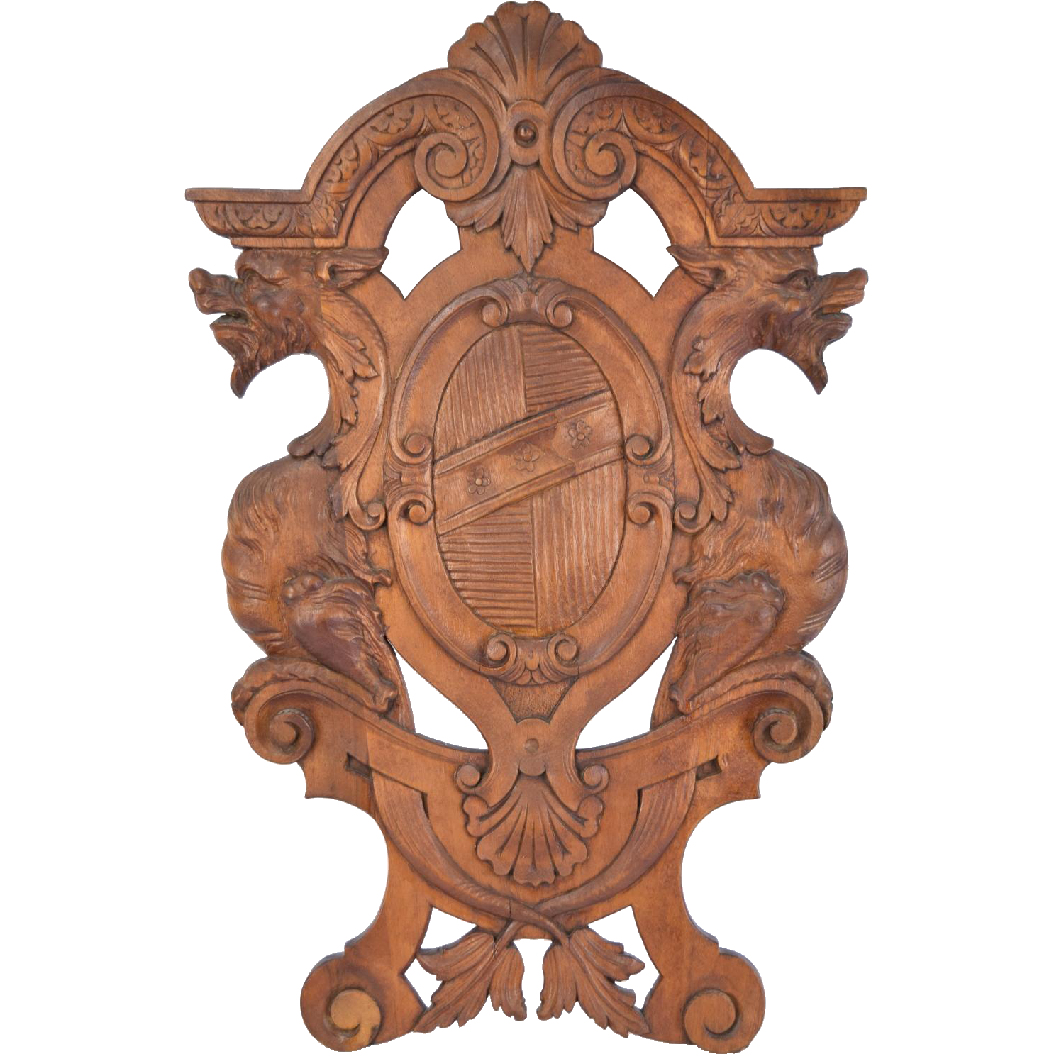 Antique Carved Wood Walnut Coat of Arms w Gryphons Wall Plaque