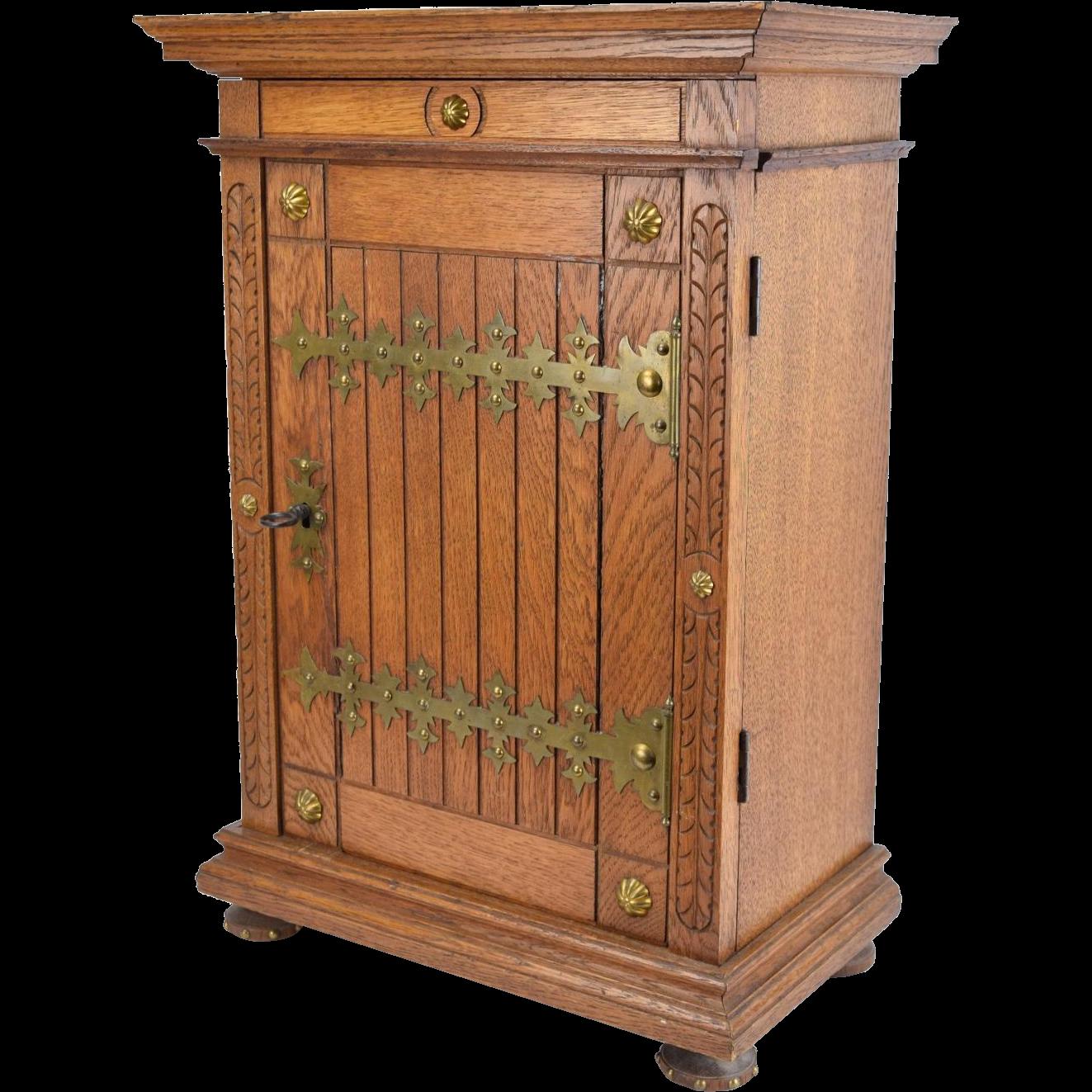 Gothic Revival Oak Locking Wall Cabinet w Strap Hinges Adjustable Shelves