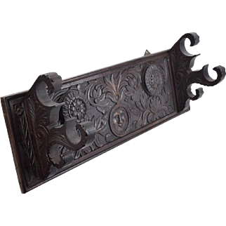 Antique Heavily Carved Oak Wall Plaque or Towel Rack Face w Sunflowers