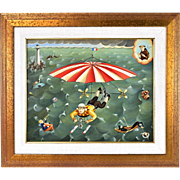 "Colette Foune ""Heavenly Rescue"" Surrealist French Flying Machine Oil Painting"
