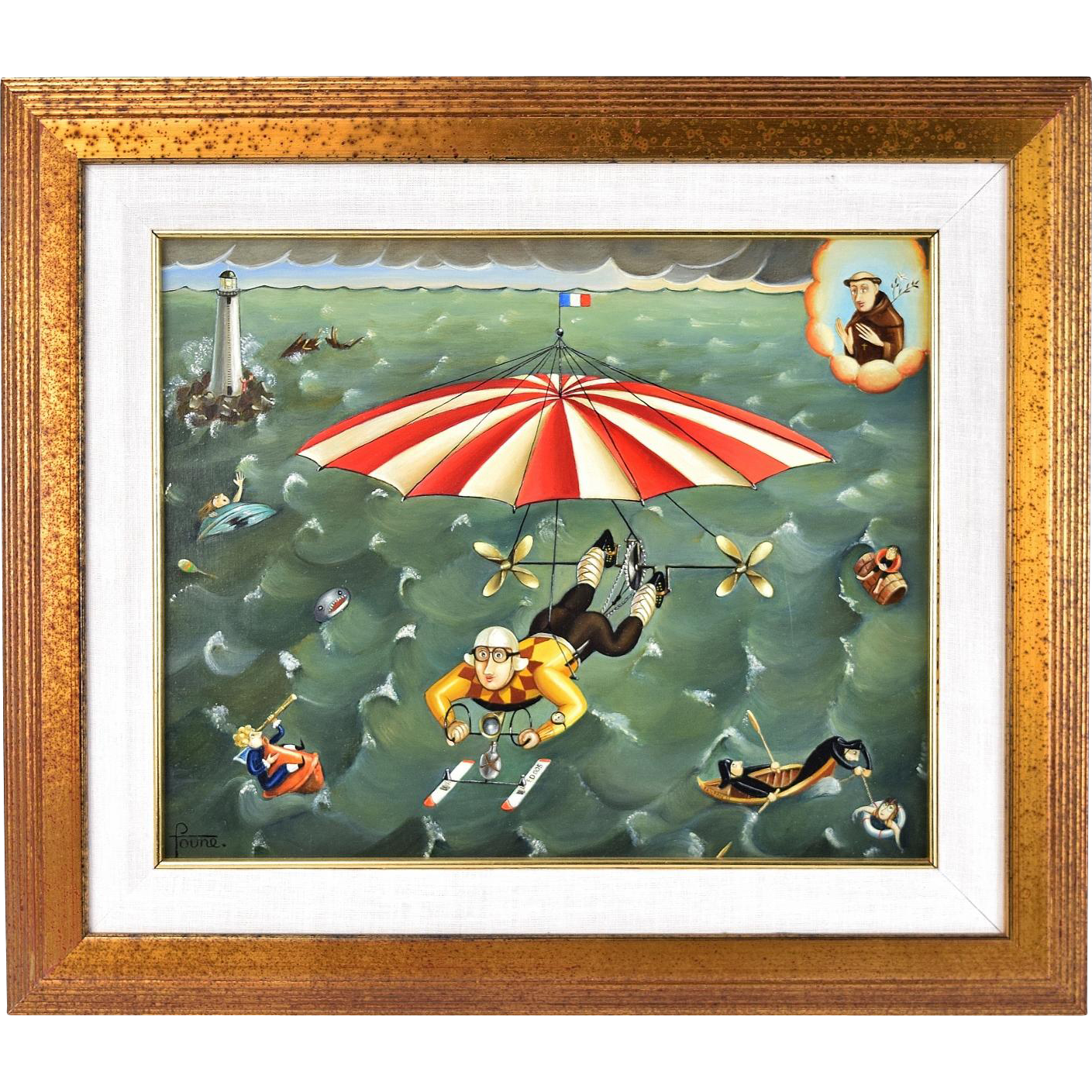 """Colette Foune """"Heavenly Rescue"""" Surrealist French Flying Machine Oil Painting"""