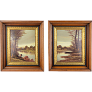 Vintage Pair Landscape Oil Paintings in Victorian Renaissance Revival Frames