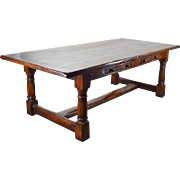 Antique English Charles II Style Oak Farm Desk Library Dining Refectory Table