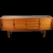 Vintage Danish Modern Teak Sideboard Credenza Sliding Doors Ample Storage