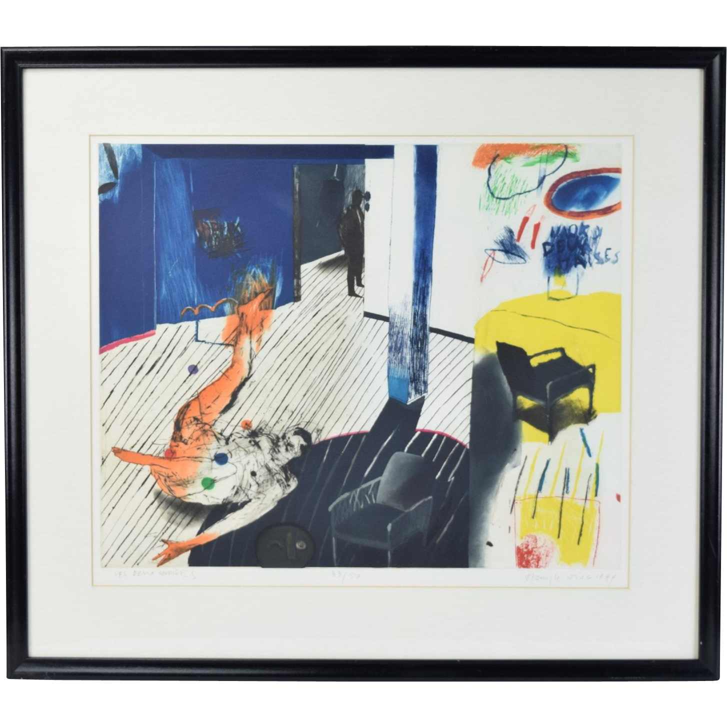 """1984 Modernist Lithograph """"Les Deux Chaises"""" Henryk Ozog Polish Artist"""