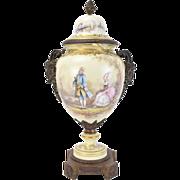 Sevres Hand Painted Porcelain Urn Bronze Satyr Masks sgnd Poitevin as-is